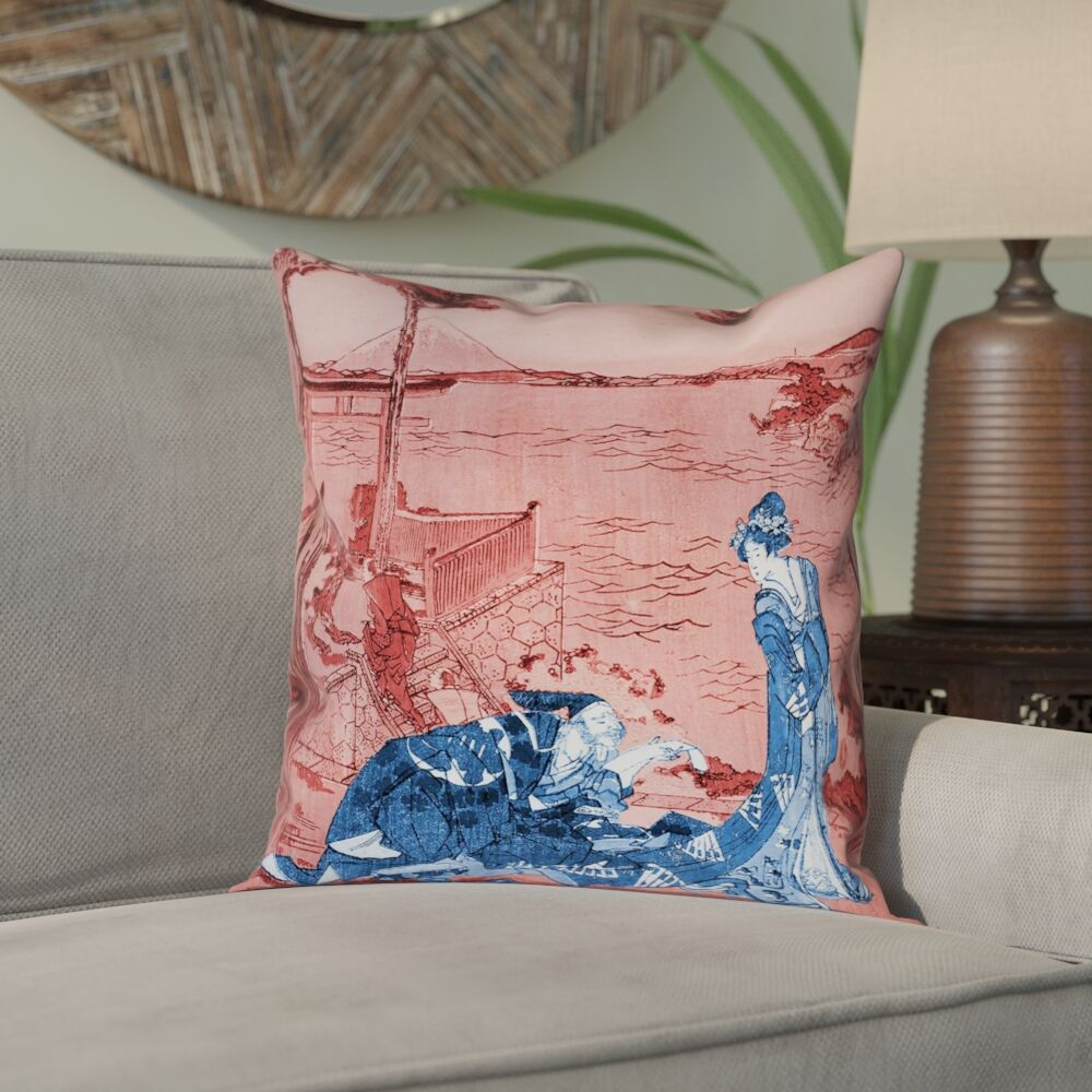 Enya Japanese Courtesan Double Sided Print Pillow Cover with Insert Size: 26