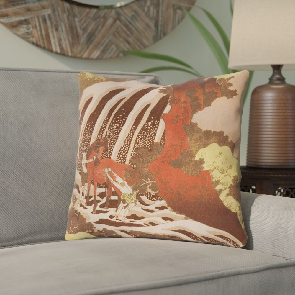 Channelle Horse and Waterfall Linen Pillow Cover Size: 18