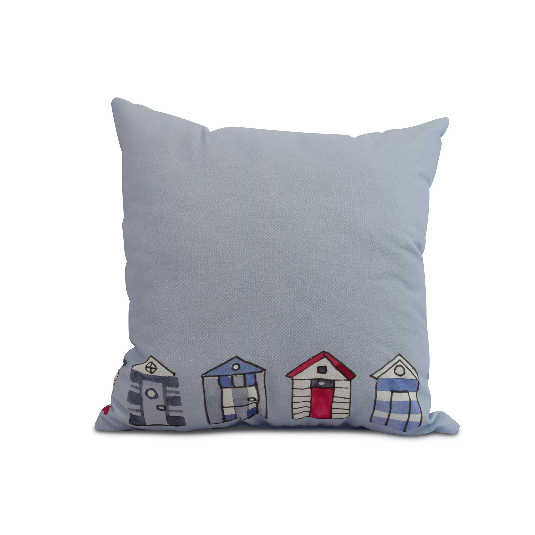Bryson Beach Huts Print Throw Pillow Color: Light Blue, Size: 18