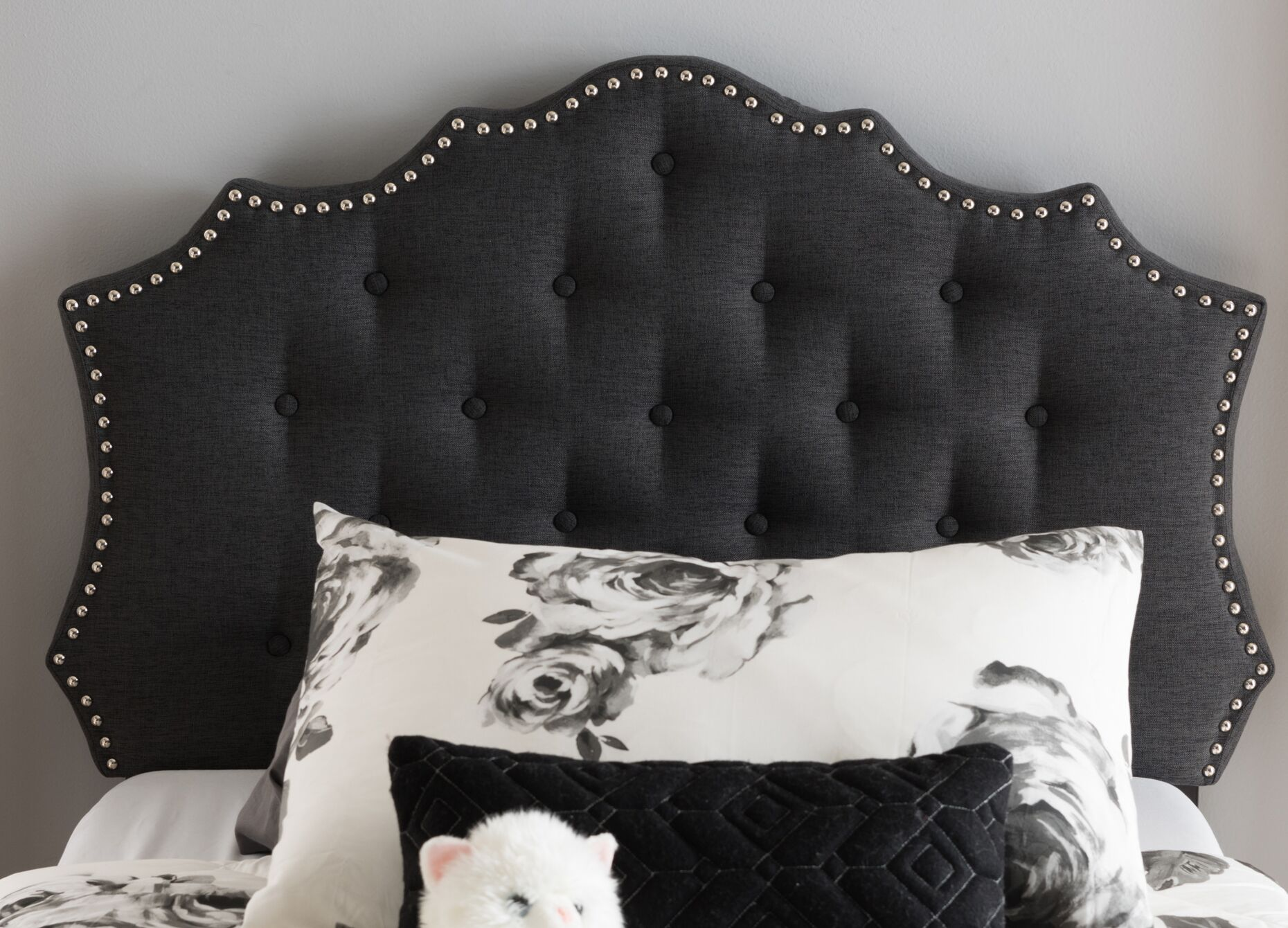 Houghton Upholstered Panel Headboard Size: Twin, Color: Dark Grey