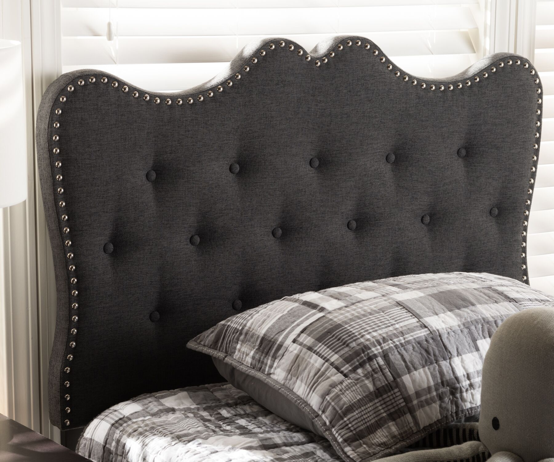 Hoytville Upholstered Panel Headboard Size: Twin, Color: Dark Gray