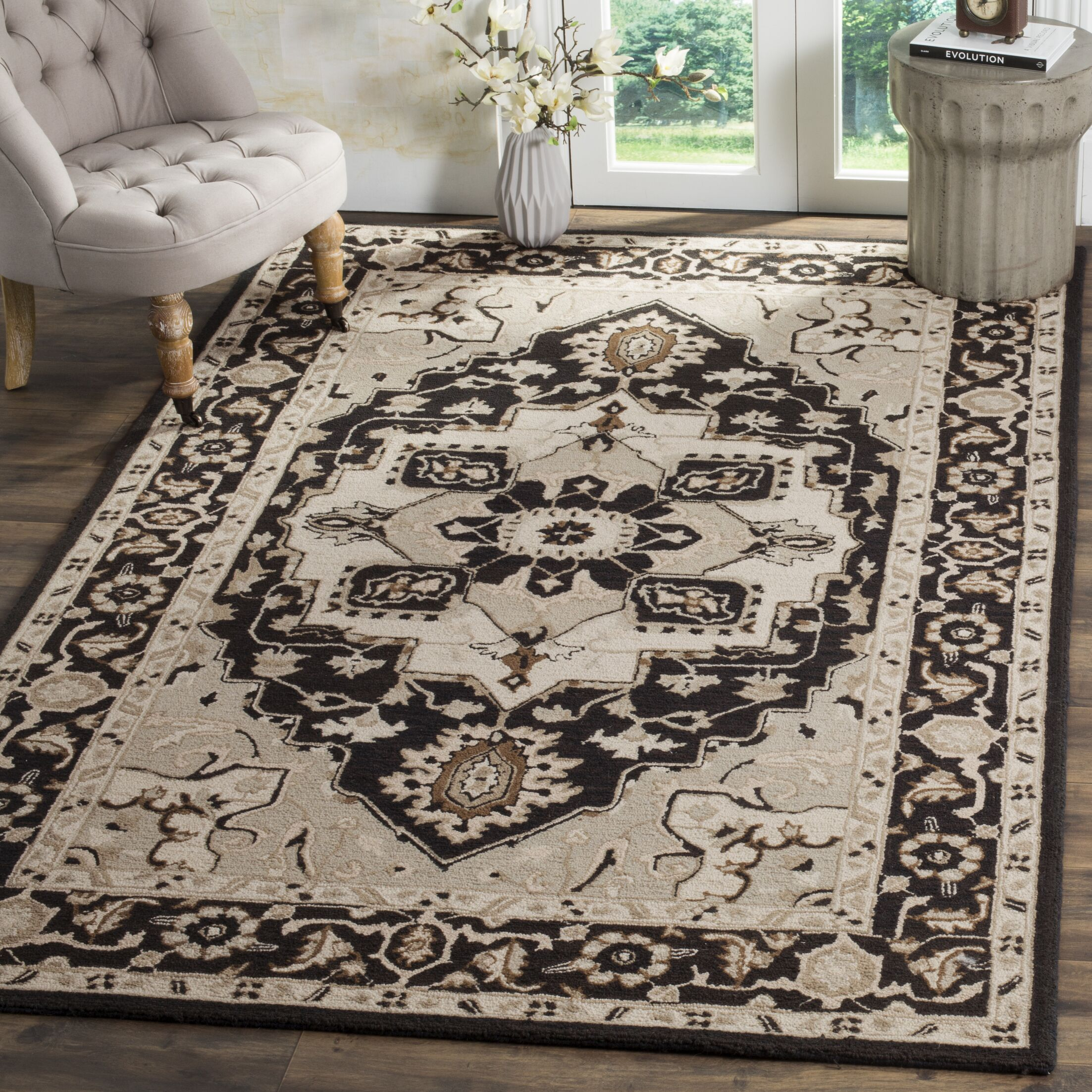 Amice Hand-Hooked Black/Natural Area Rug Rug Size: Rectangle 2' 9