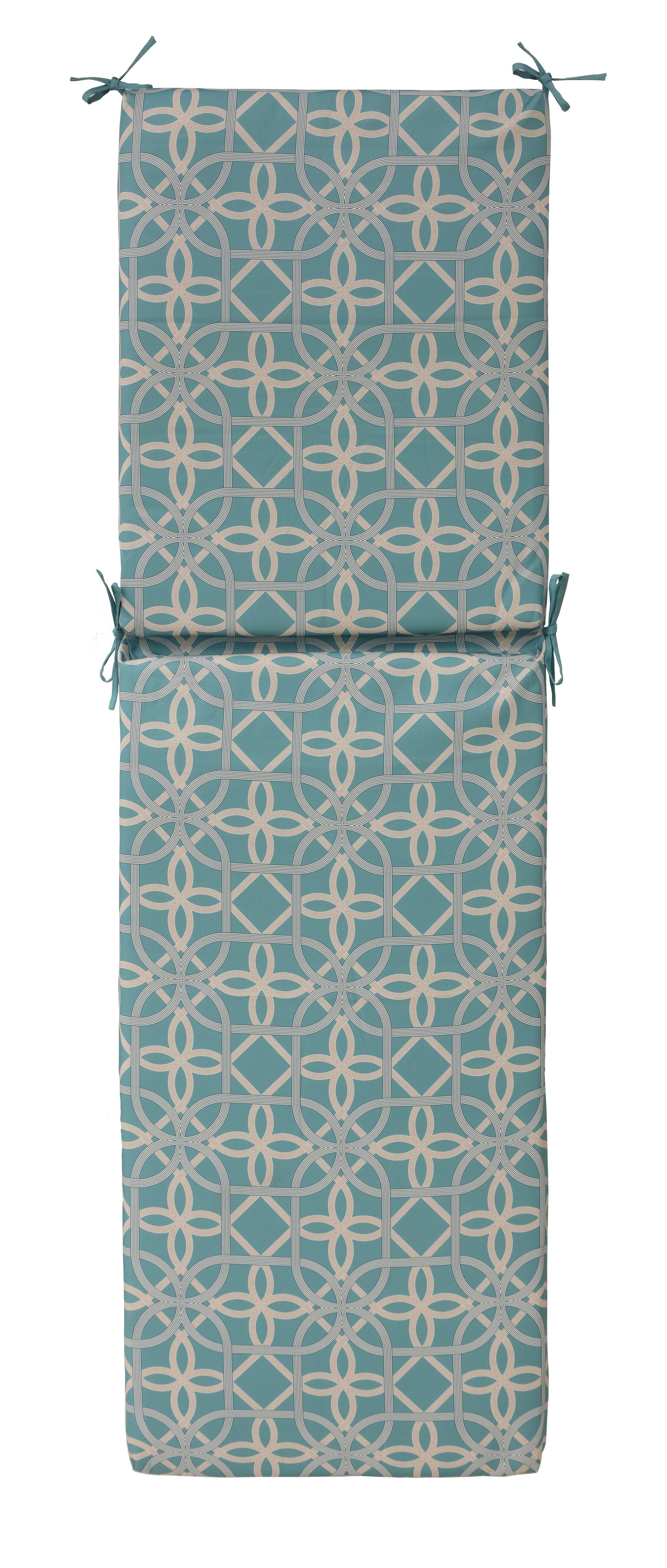 Indoor/Outdoor Chaise Lounge Cushion Fabric: Aqua