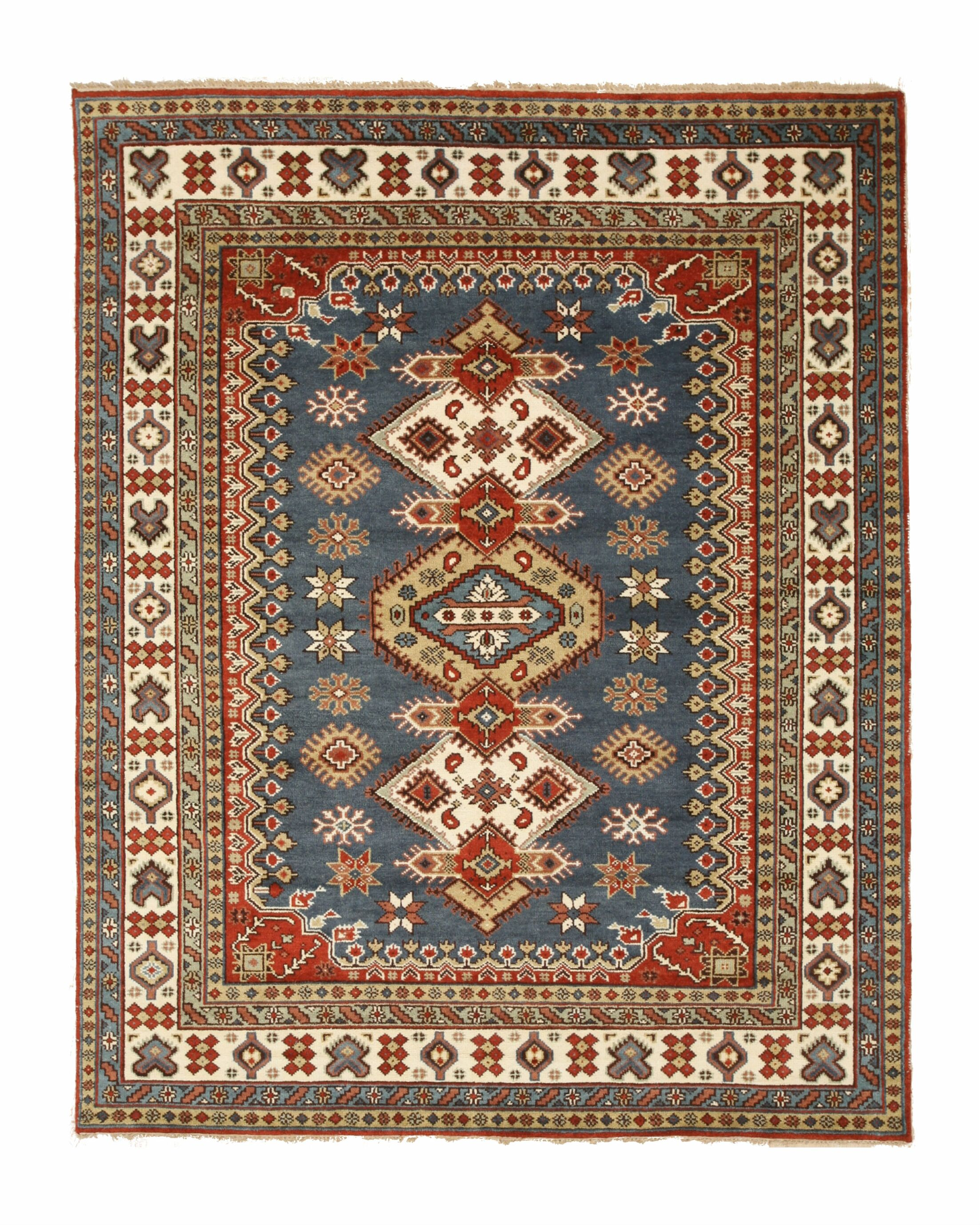 Wallenstein Traditional Oriental Hand-Knotted Wool Blue/Beige Area Rug Rug Size: Rectangle 10' x 14'
