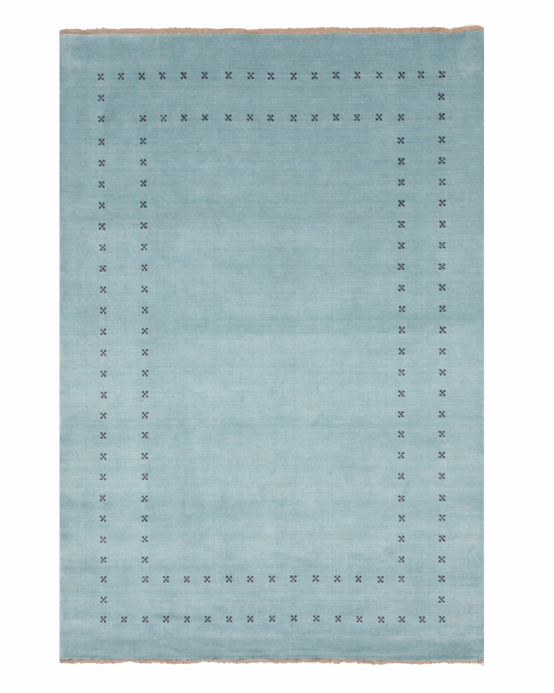 Dreher Transitional Solid Hand-Woven Wool Aqua Area Rug Rug Size: Rectangle 8' x 10'
