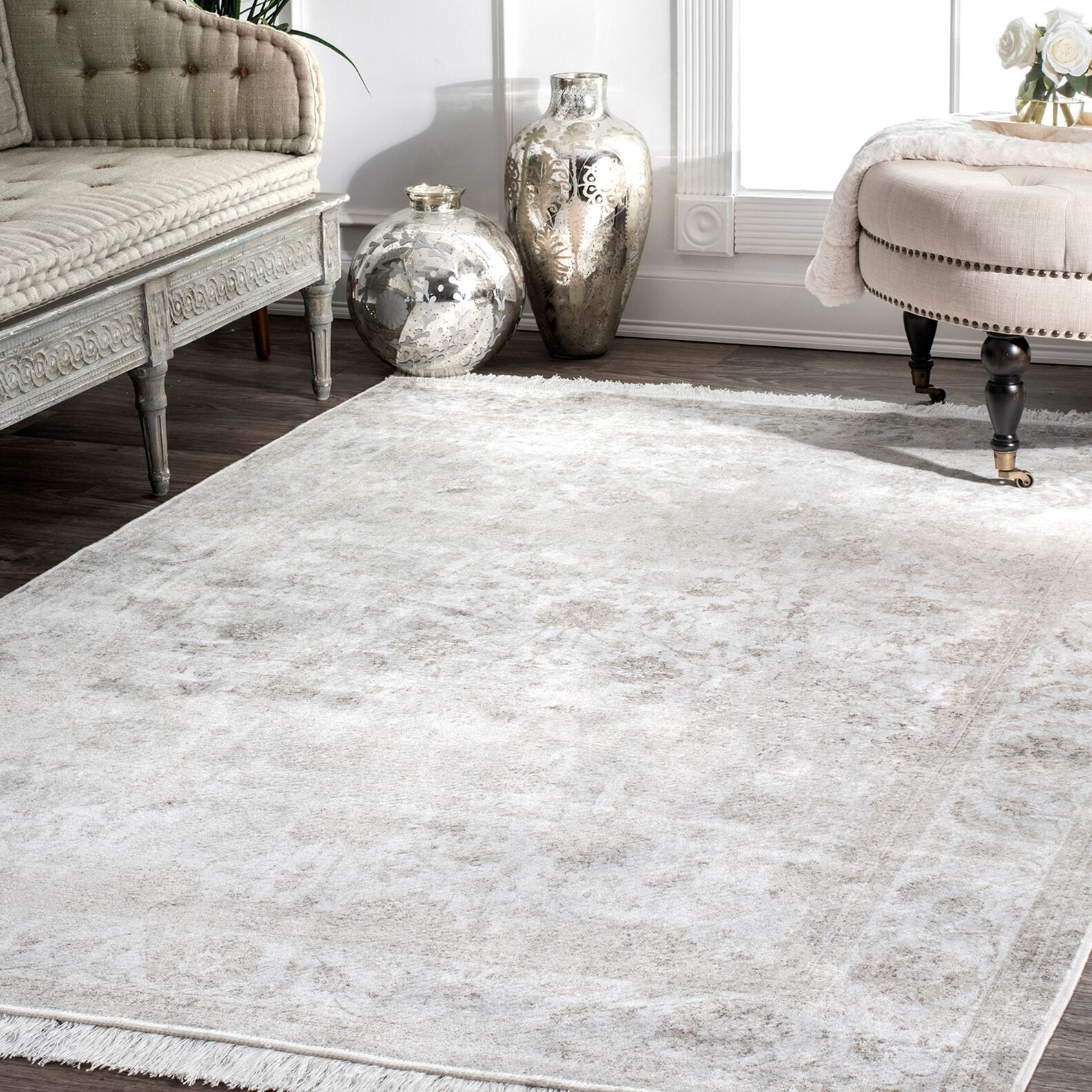 Center Drive Ivory Area Rug Rug Size: Rectangle 7'6