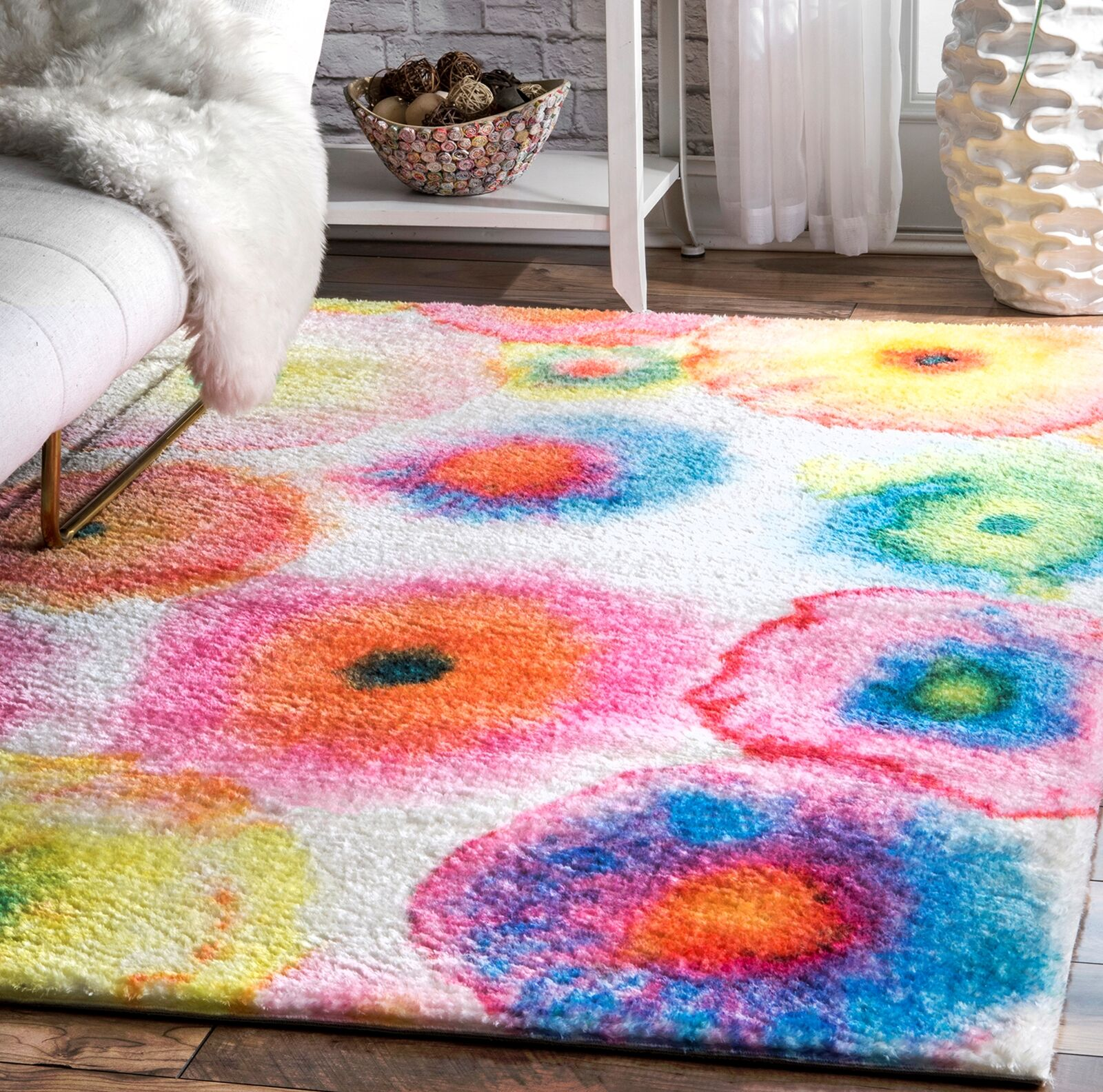 Ninave Pink/Green/Blue Area Rug Rug Size: Rectangle 5' x 7'