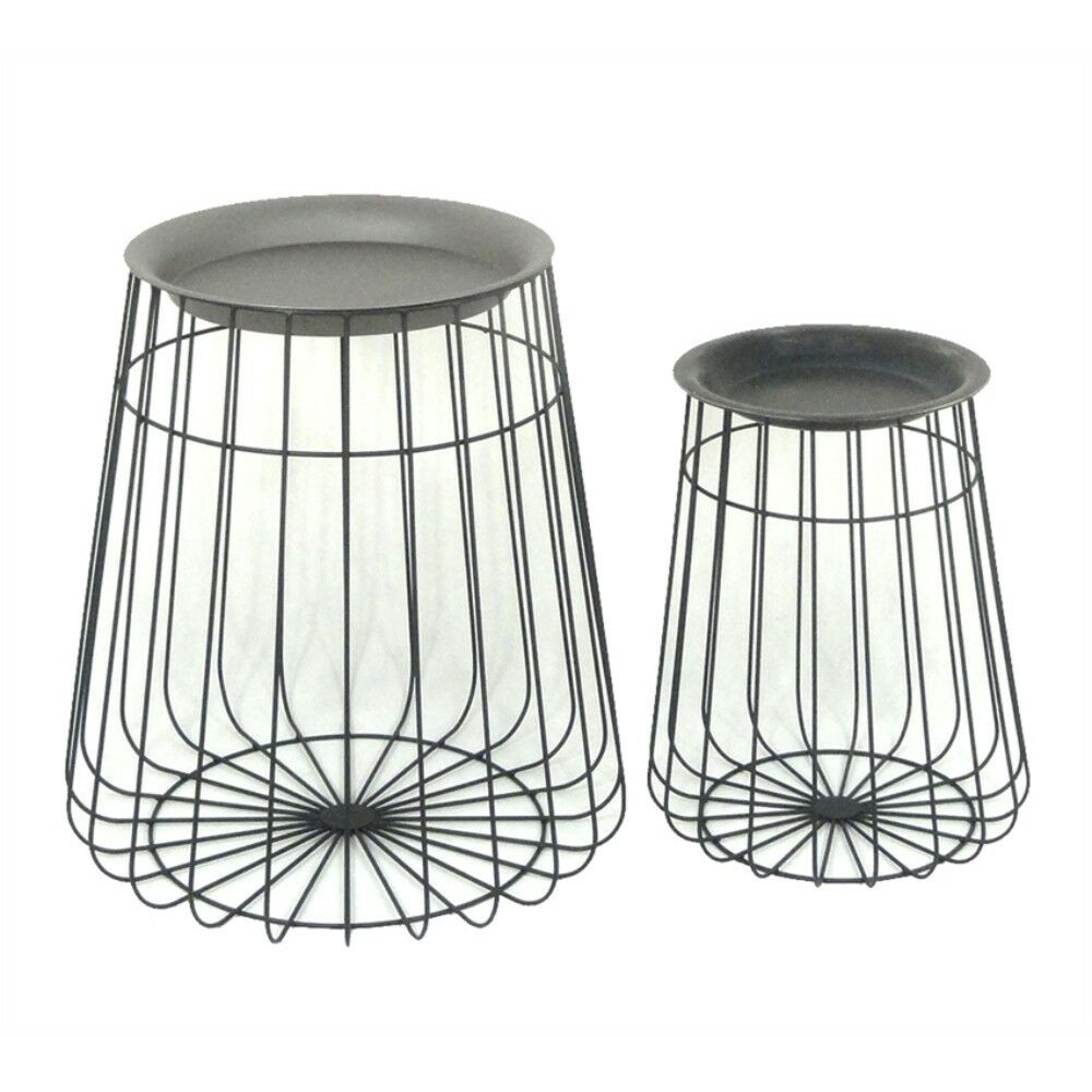 Coursey Antique Metal 2 Piece Nesting Tables
