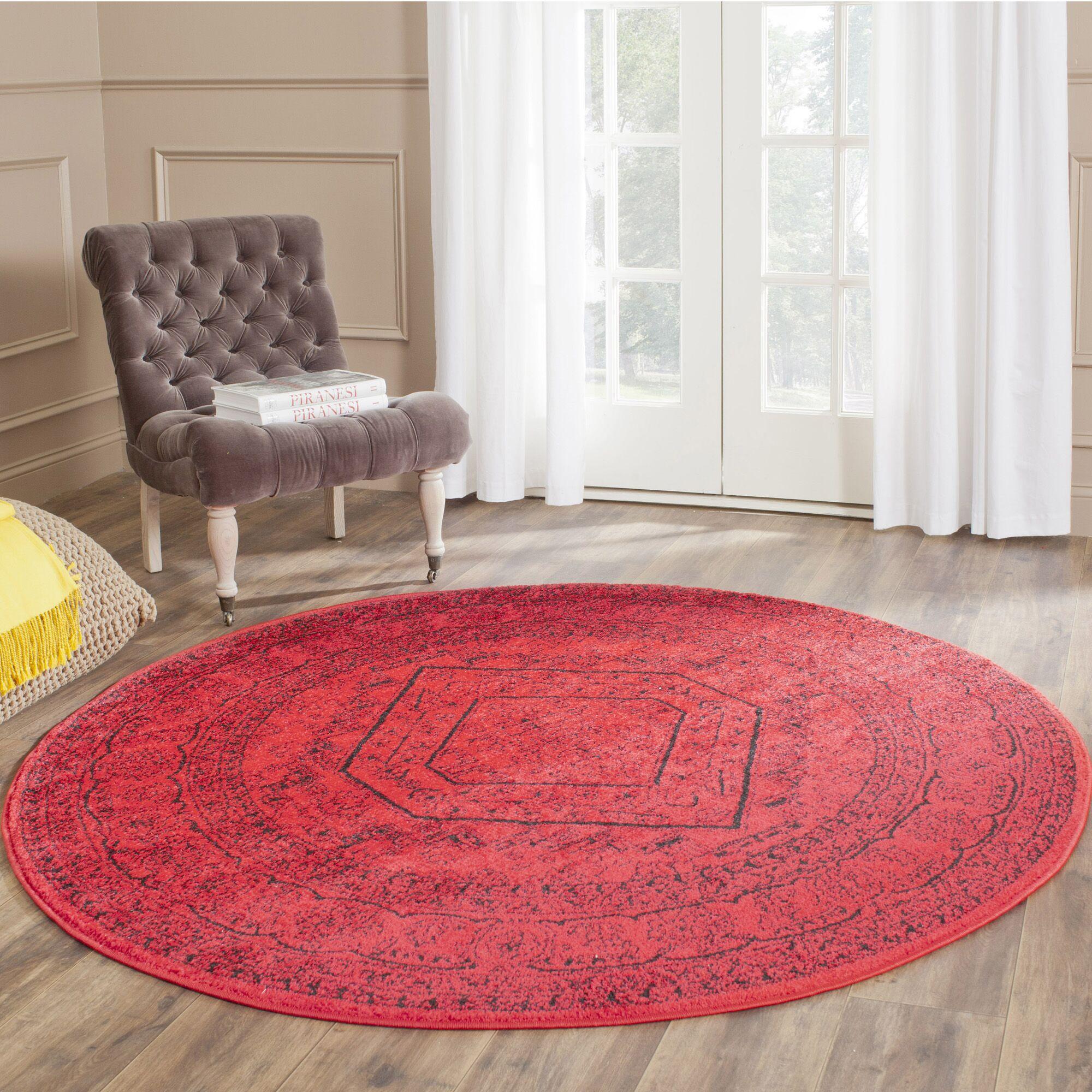 Ebenezer Red/Black Area Rug Rug Size: Round 6'