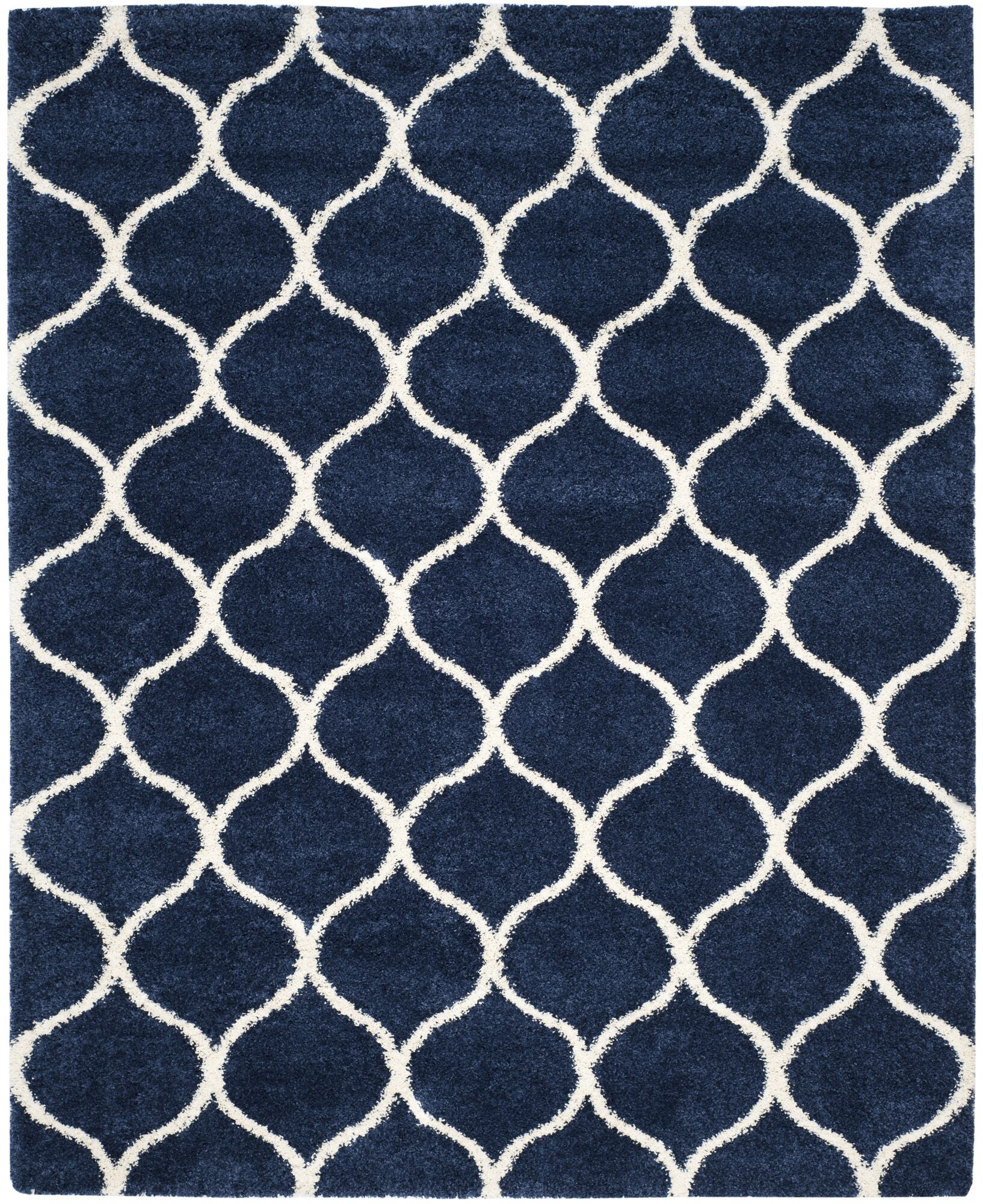 Duhon Shag Navy/Ivory Area Rug Rug Size: Rectangle 8' x 10'