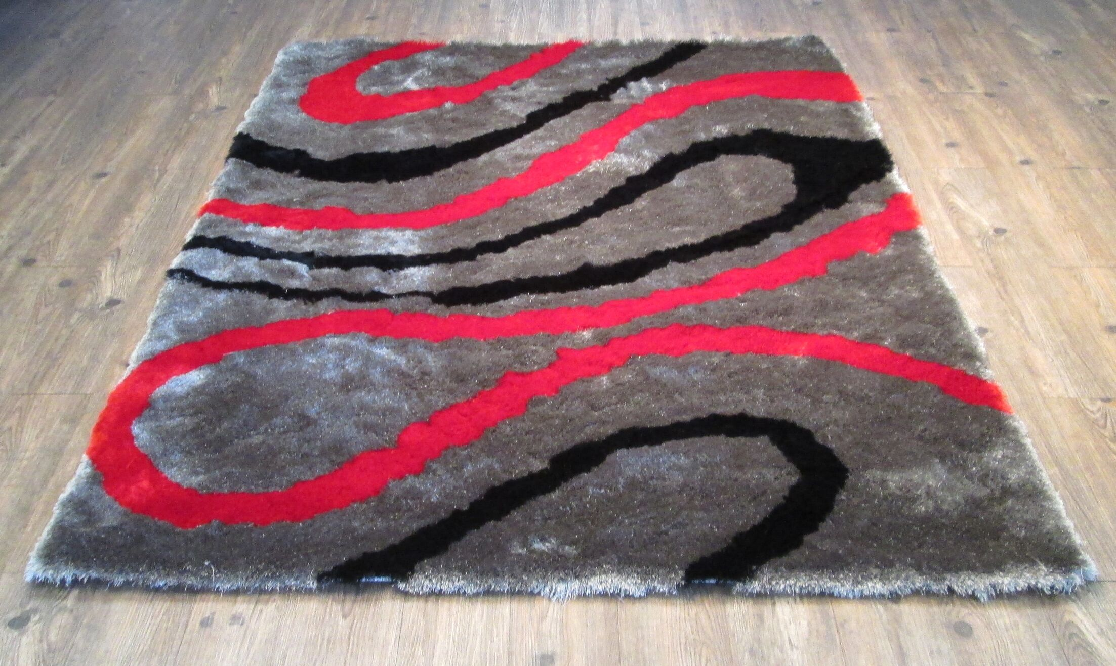 Cleavenger Modern Hand-Tufted Black/Red Area Rug Rug Size: Rectangle 7'6