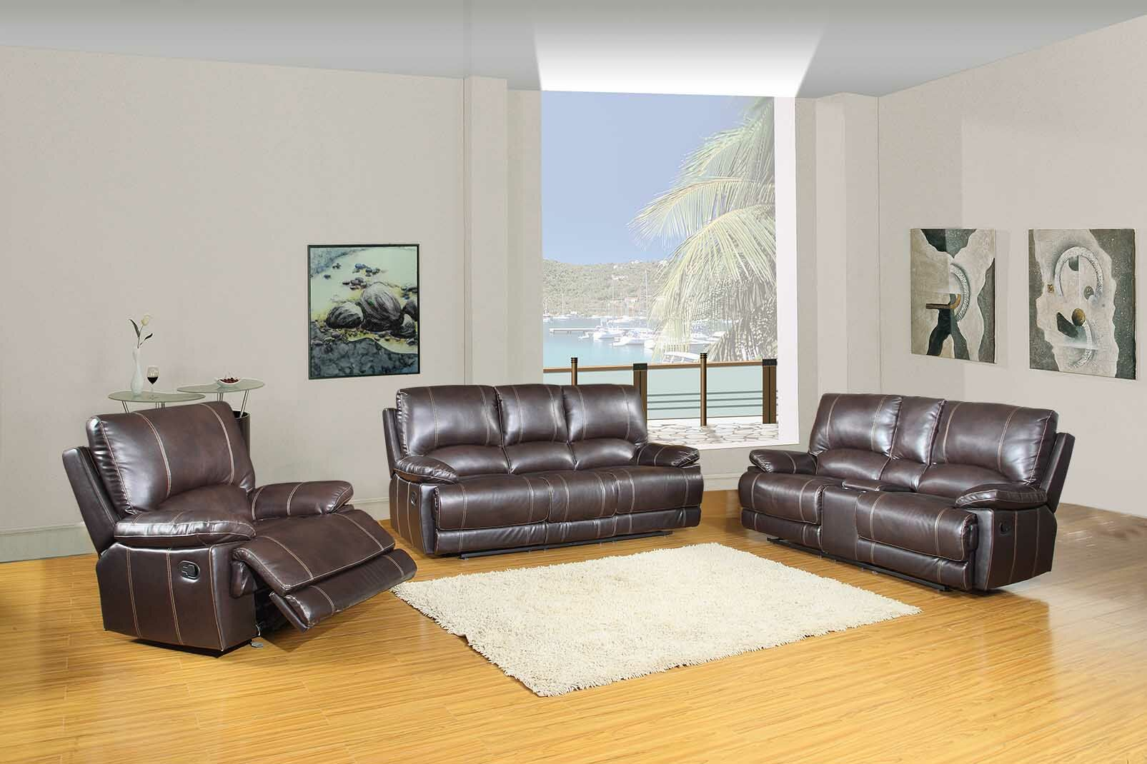 Trower Reclining  3 Piece Living Room Set Upholstery: Brown