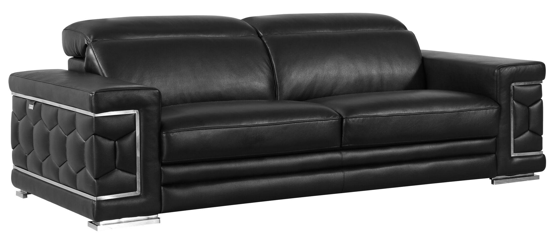 Hawkesbury Common Leather Sofa Upholstery: Black
