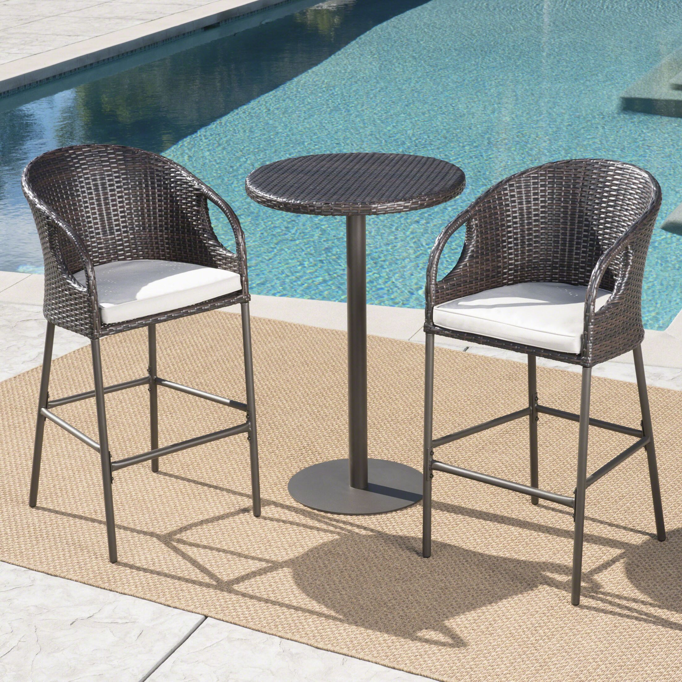 Cordelia 3 Piece Bar Height Dining Set with Cushions