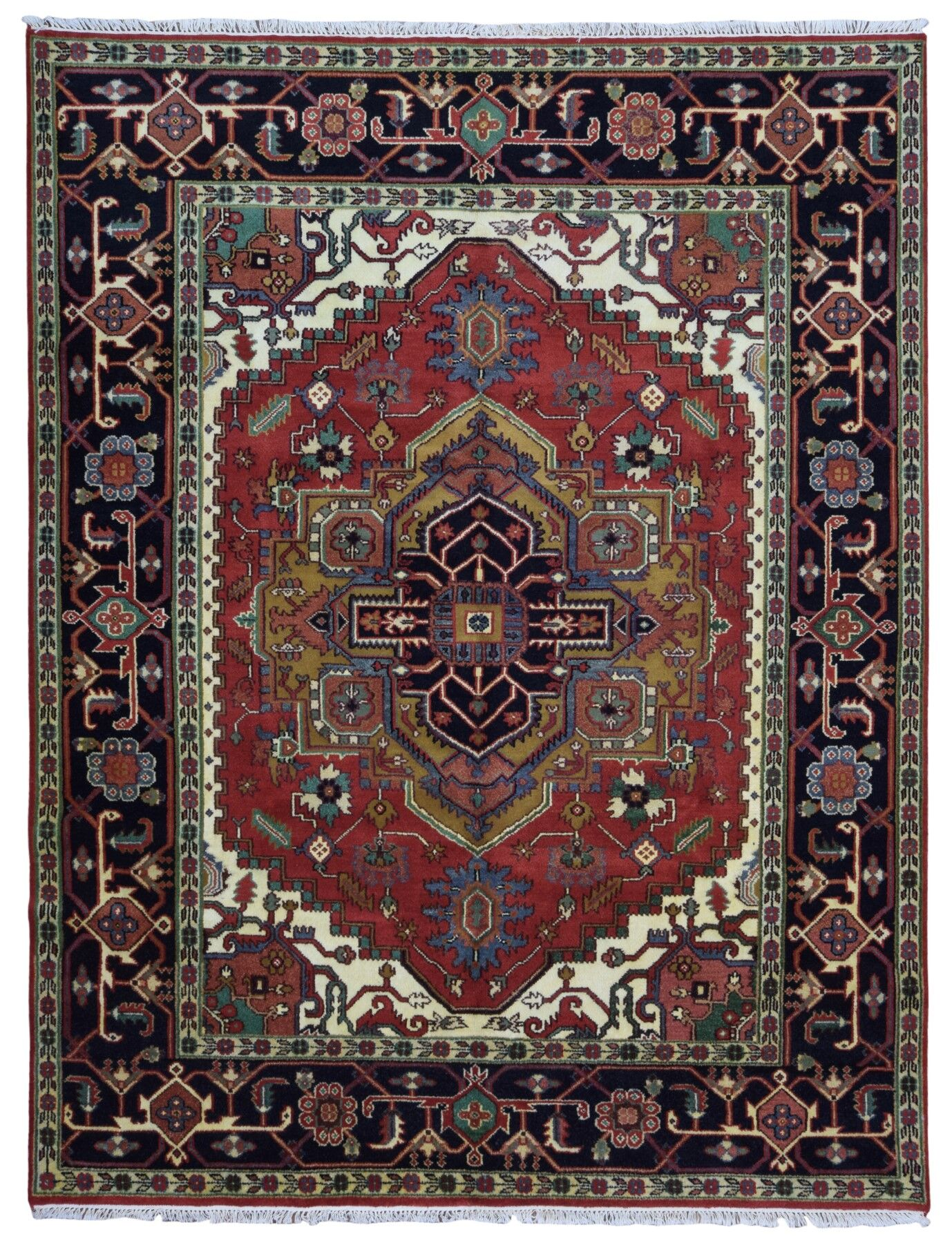 One-of-a-Kind Etchison Hand-Woven Wool Black/Red Area Rug