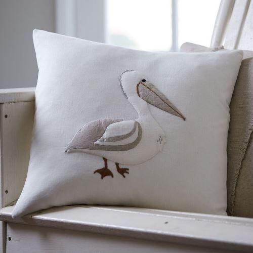 Pelican Porch Linen Throw Pillow