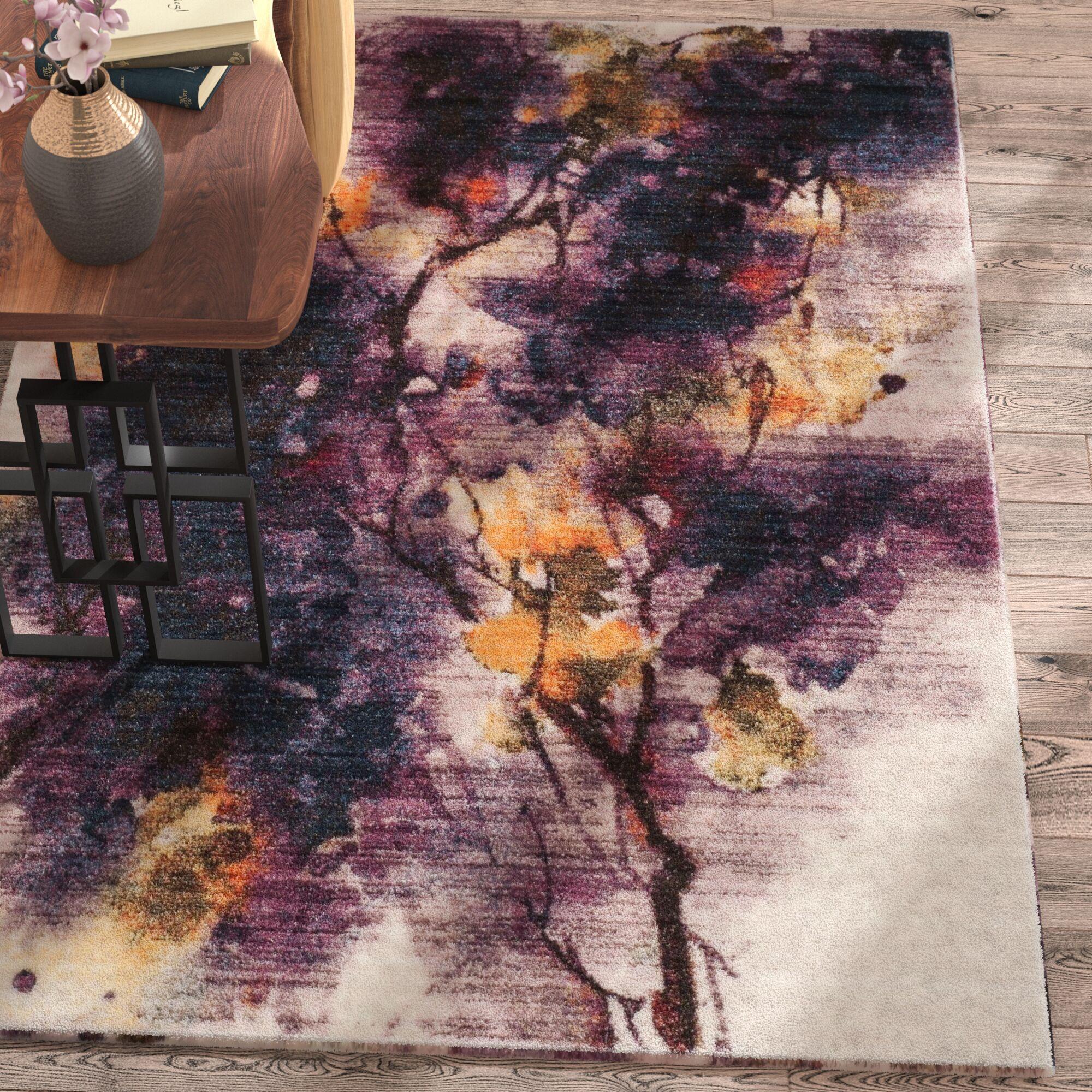Lansing Ivory/Purple Area Rug Rug Size: Round 6'