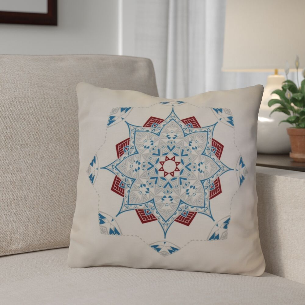 Aneesh Outdoor Throw Pillow Color: Teal/Red, Size: 18