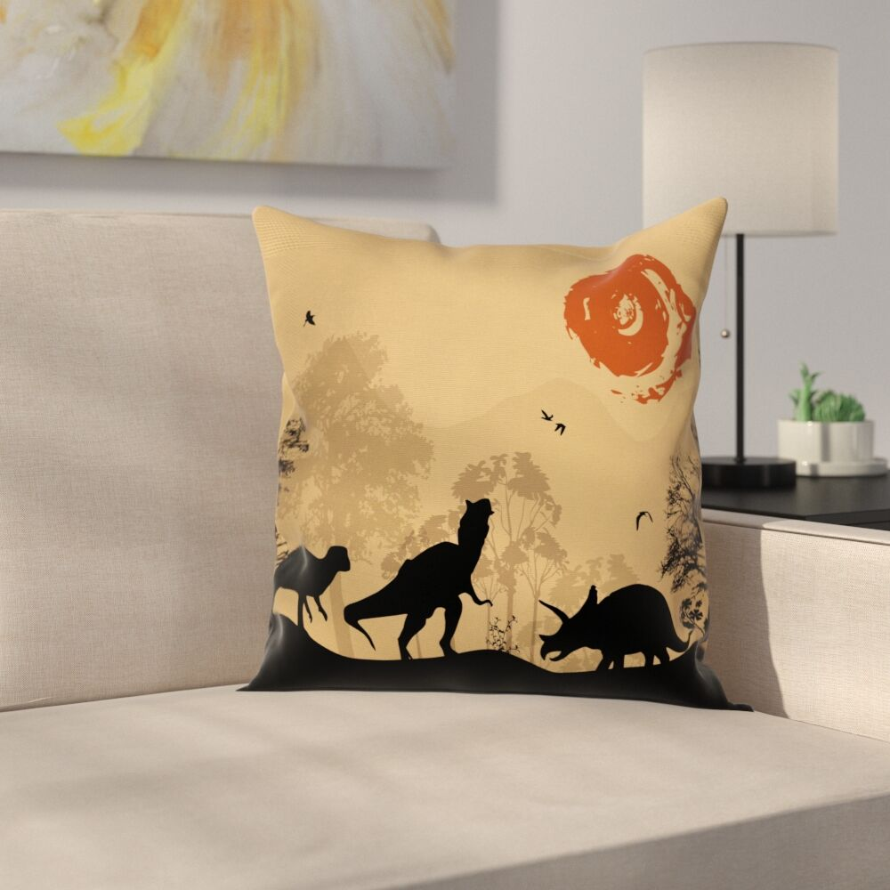 Dinosaur Prehistoric Wilderness Square Cushion Pillow Cover Size: 20