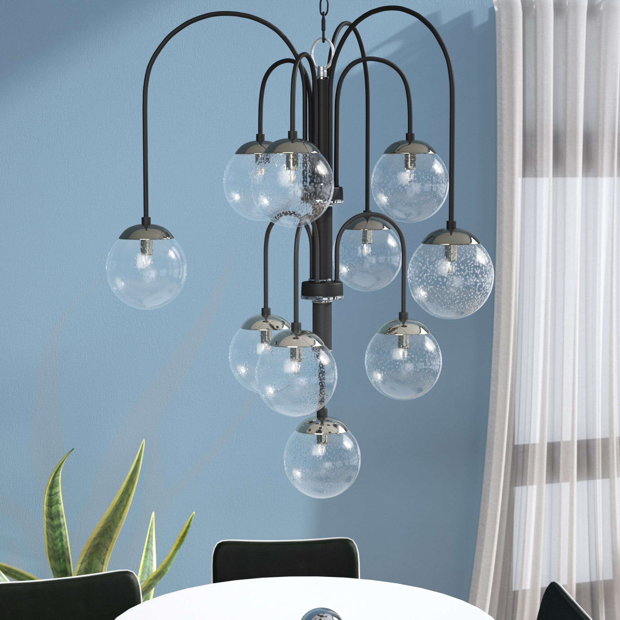 Causeway 10-Light Shaded Chandelier Bulb Type: G9 Xenon, Finish: Textured Black/PolishedNickel