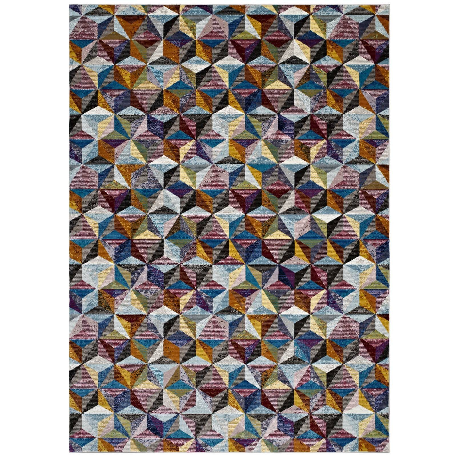 Edward Blue/Red/Yellow Area Rug Rug Size: Rectangle 5'3