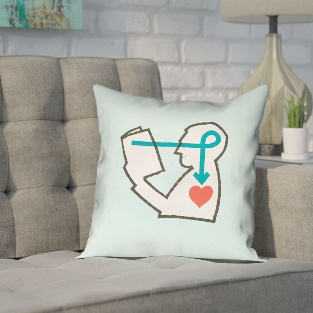 Enciso Reading Love Pink Square Throw Pillow Color: Blue, Size: 16