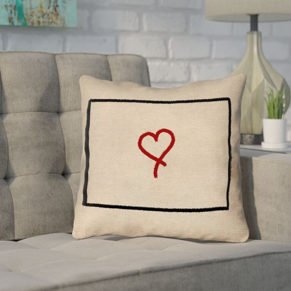 Sherilyn Wyoming Love Outline Outdoor Throw Pillow Size: 18