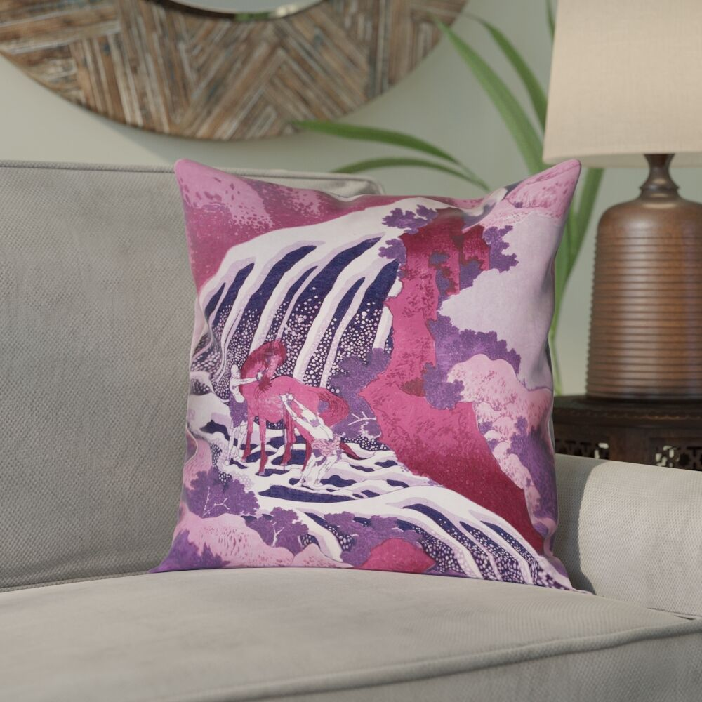 Yasmina Zipper Horse and Waterfall Suede Pillow Cover Size: 20