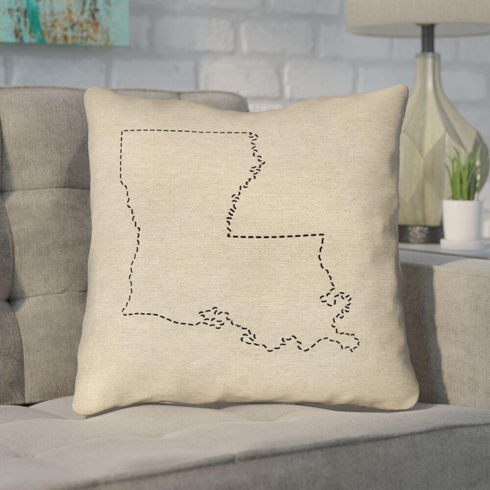 Austrinus Louisiana Dash Outline Throw Pillow Size: 16