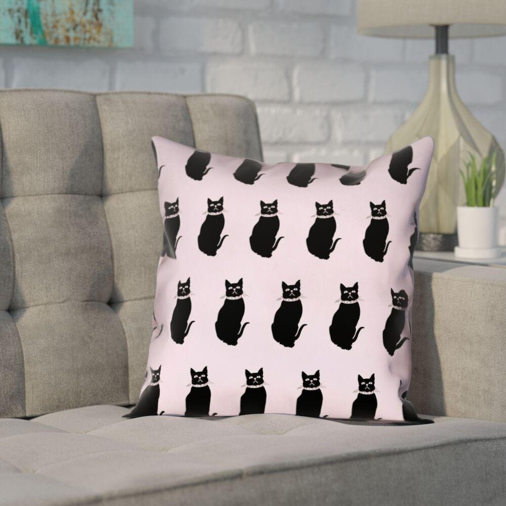 Pecora Cat Outdoor Throw Pillow Color: Pink, Size: 16