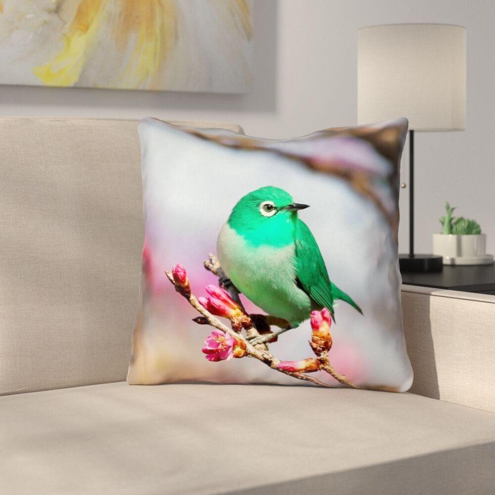 Roughton Green Bird Linen Throw Pillow Size: 26