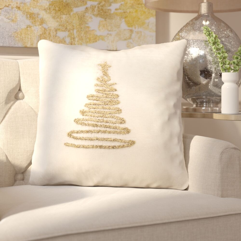Briggsvale Enchanted Evergreen Throw Pillow Color: Beige/Gold