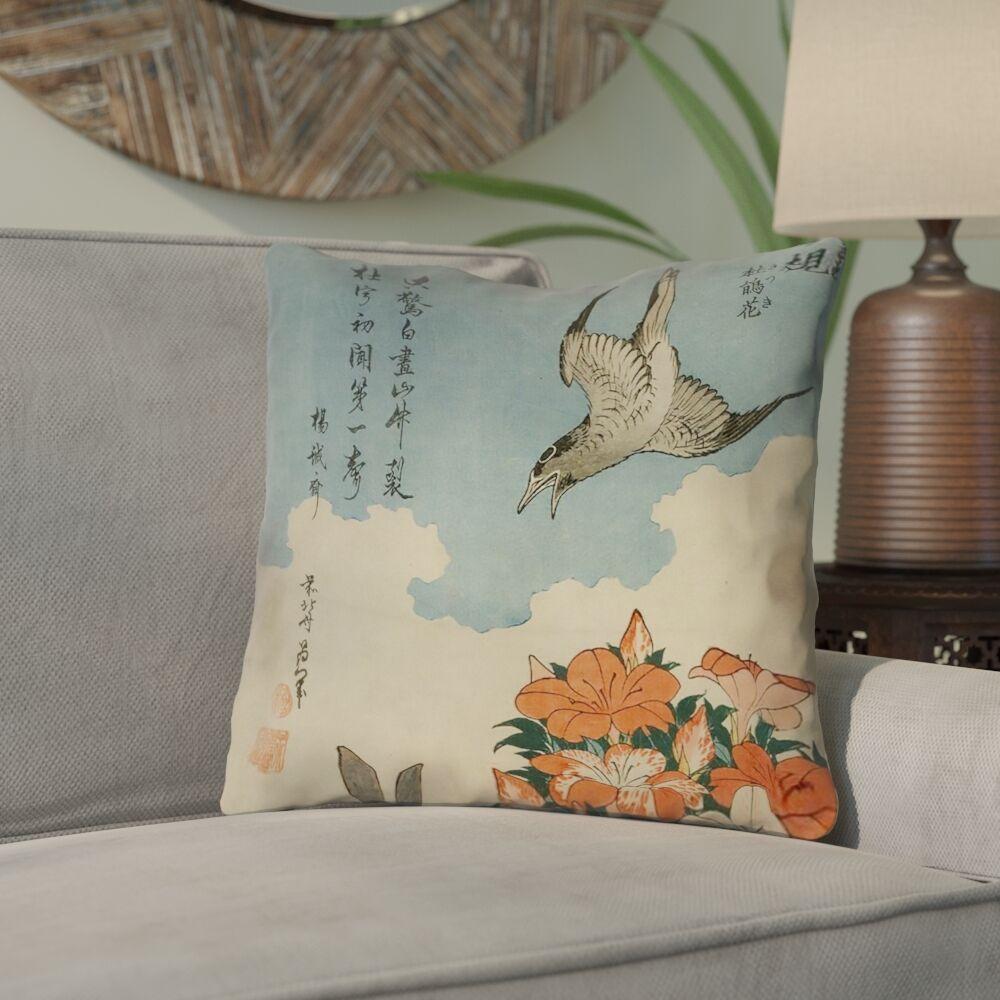 Yasmina Cuckoo and Azaleas Cotton Throw Pillow Size: 14