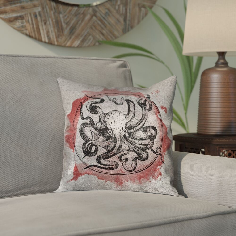 Carpenter Vintage Octopus Indoor/Outdoor Throw Pillow Color: Red, Size: 16