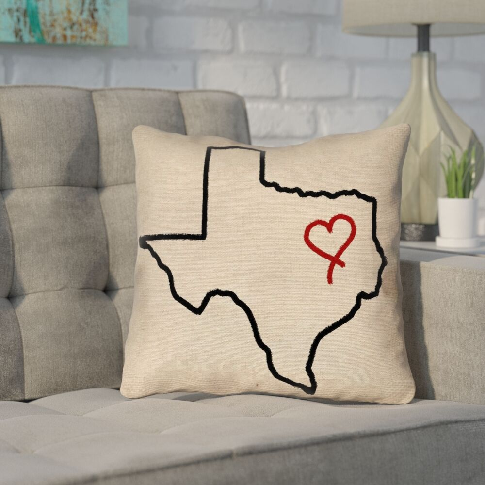 Sherilyn Texas Love Outdoor Throw Pillow Size: 18
