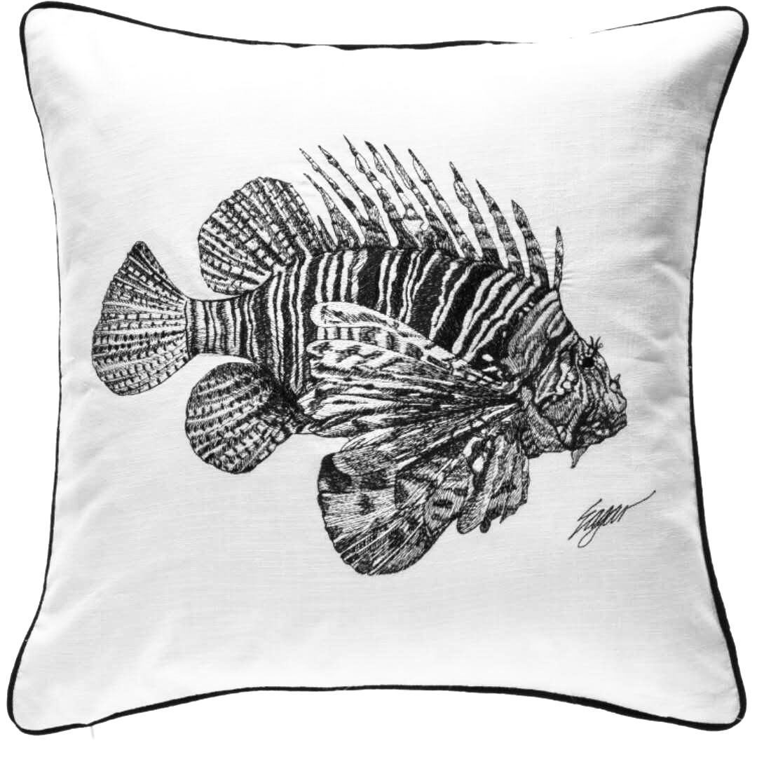 Chasse Lion Fish Embroidered Cotton Throw Pillow