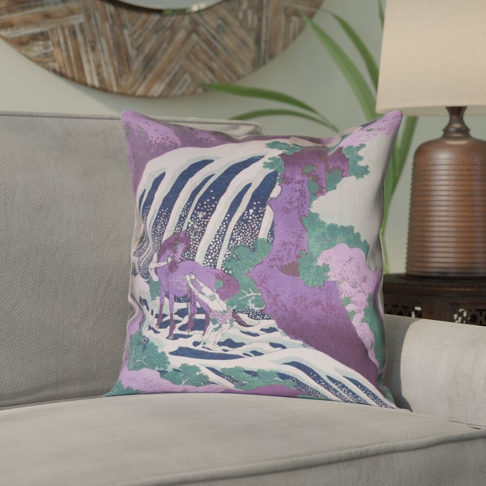 Yasmina Modern Horse and Waterfall Linen Pillow Cover Size: 18