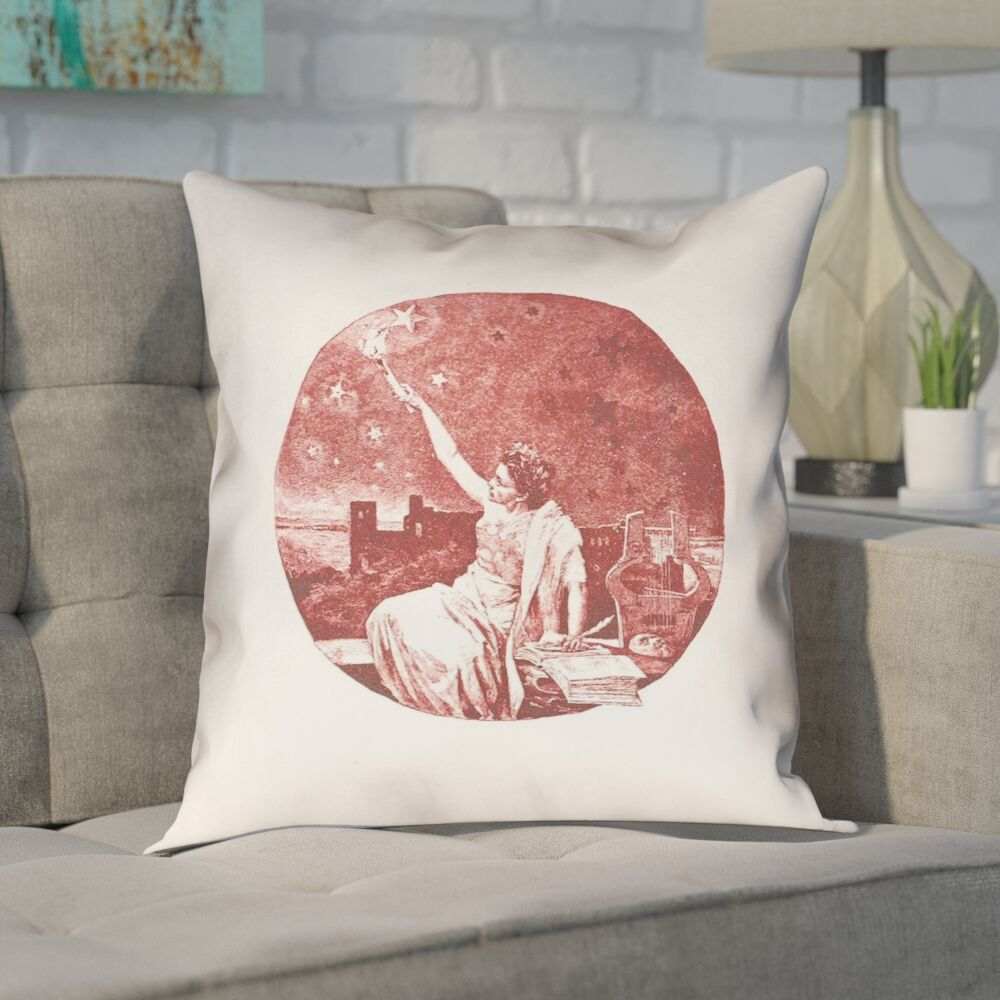 Enciso Red Vintage Goddess Throw Pillow Color: Red, Size: 16