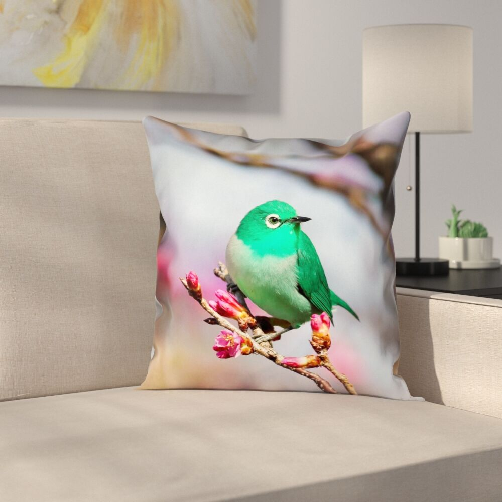 Roughton Square Green Bird Pillow Cover Size: 20