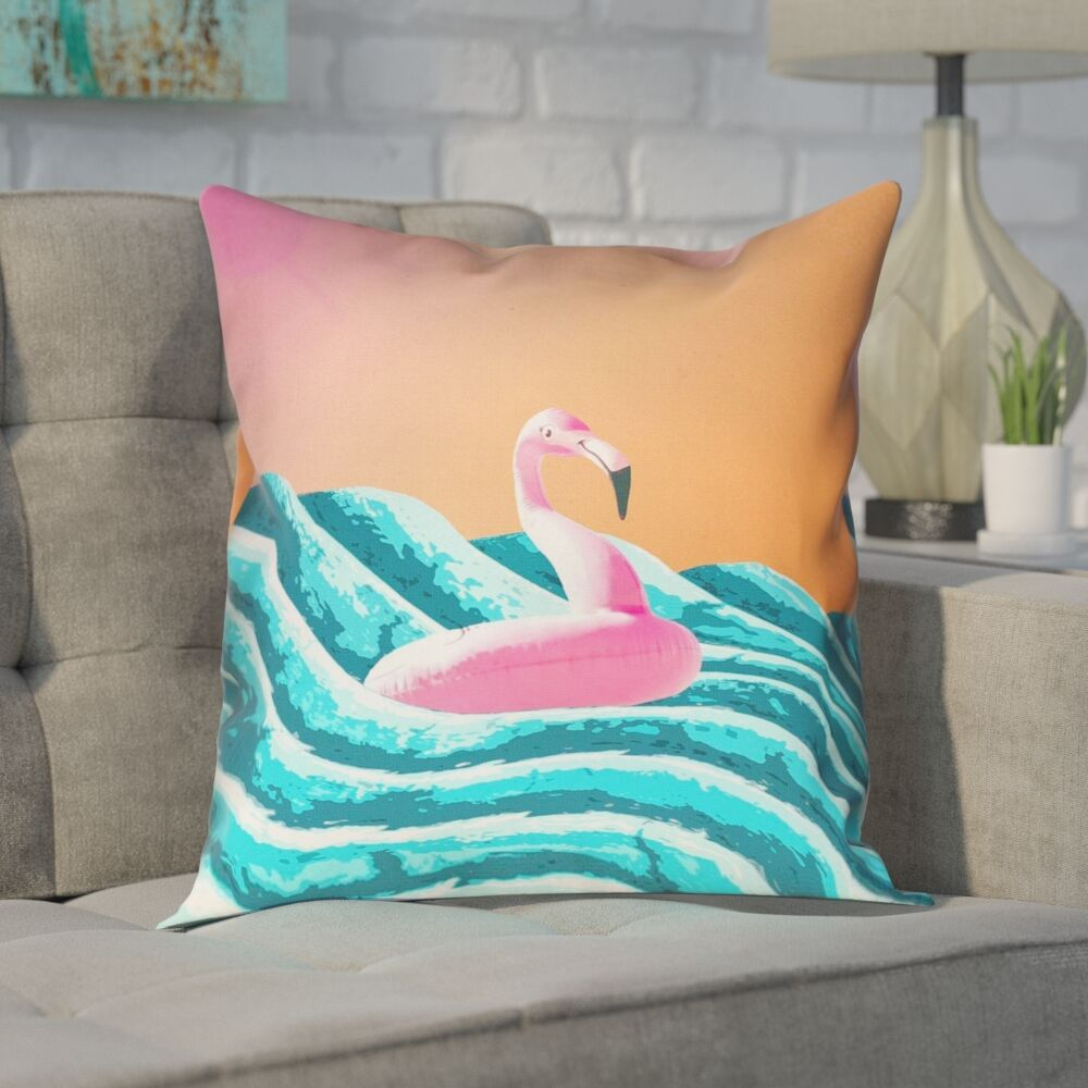 Enciso Sun and Surf Flamingo Float Outdoor Throw Pillow Size: 18