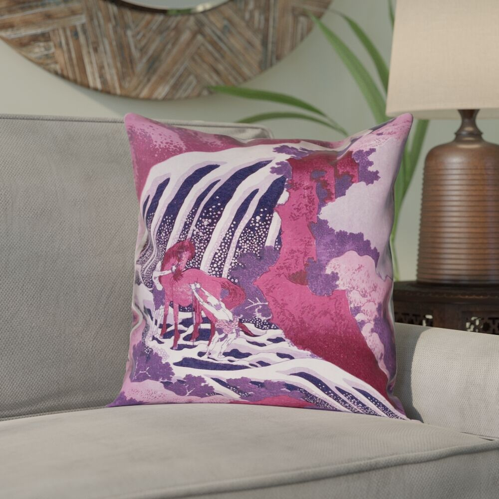 Yasmina Graphic Square Horse and Waterfall Pillow Cover Size: 20