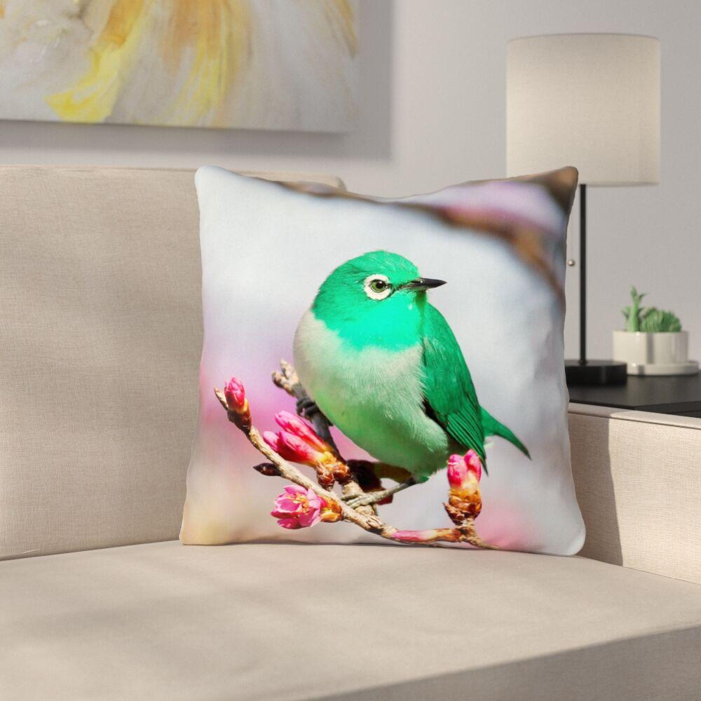 Roughton Green Bird Throw Pillow Size: 20