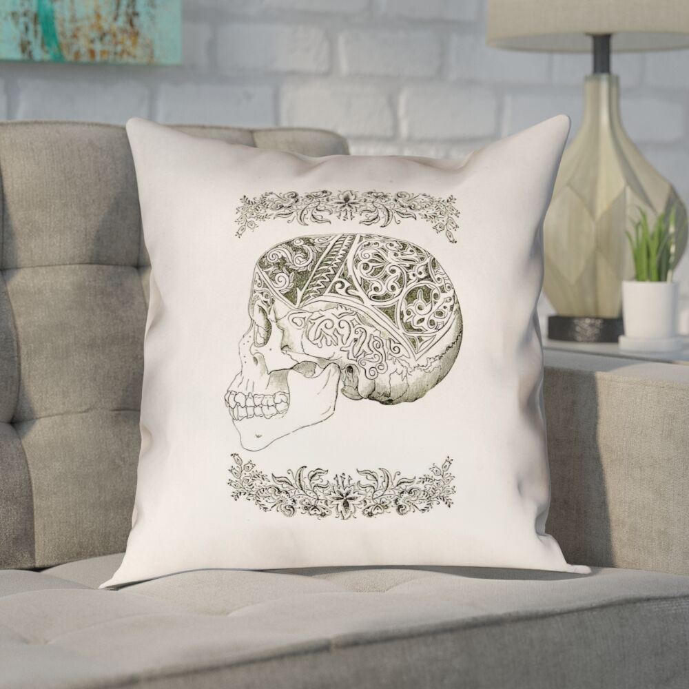 Enciso Vintage Decorative Square Skull Throw Pillow Size: 26