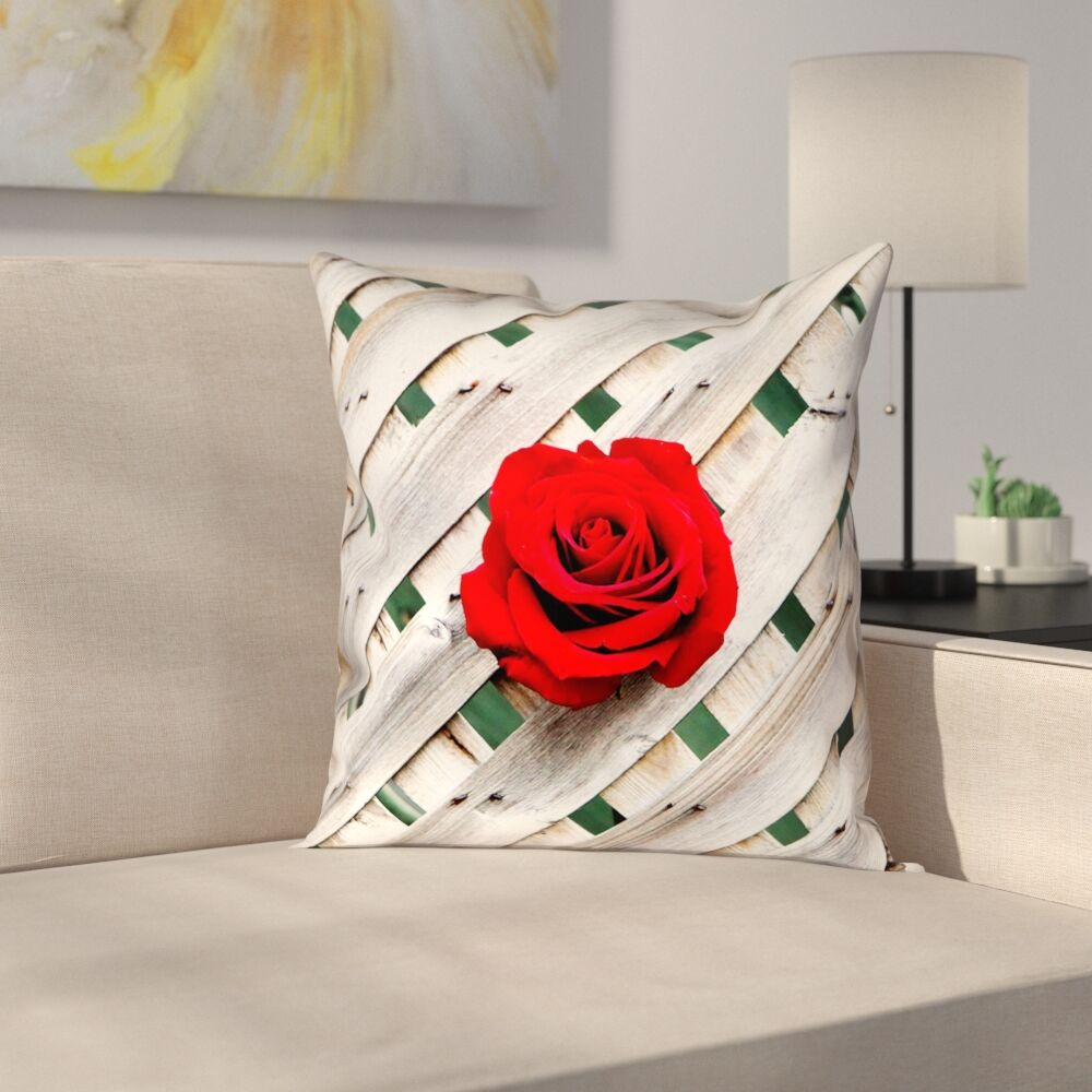 Hansard Fence Rose Indoor Throw Pillow Size: 18