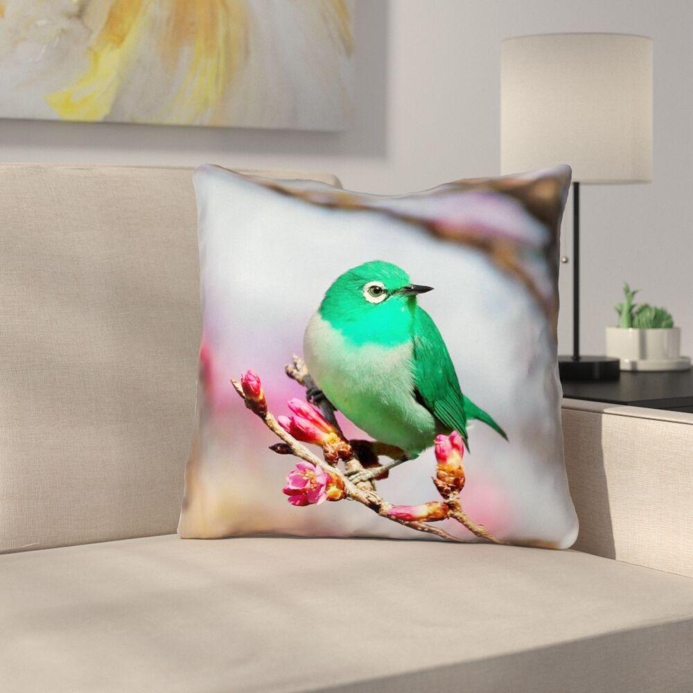 Roughton Green Bird Cotton Throw Pillow Size: 26