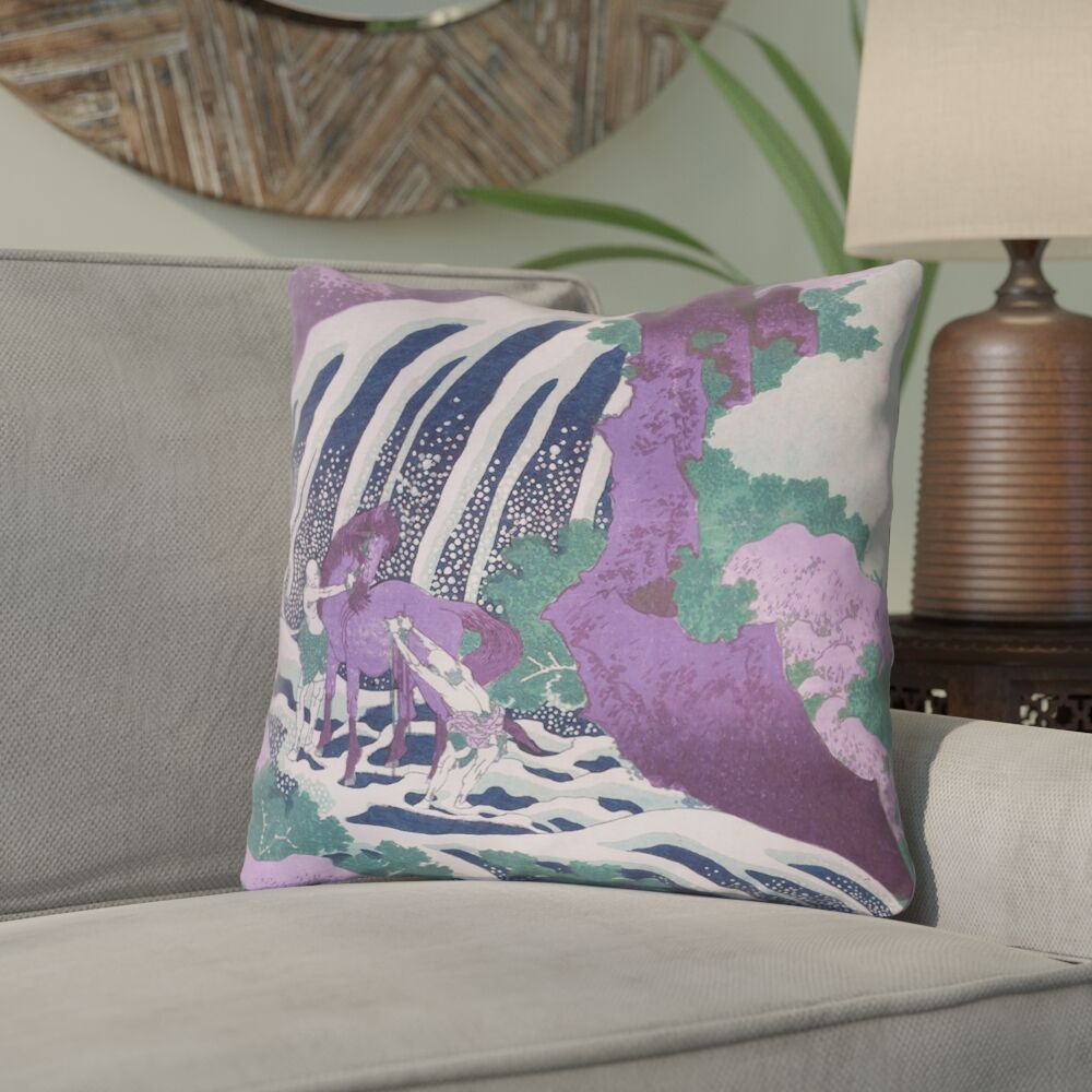 Yasmina Eclectic Square Horse and Waterfall Cotton Throw Pillow Size: 16