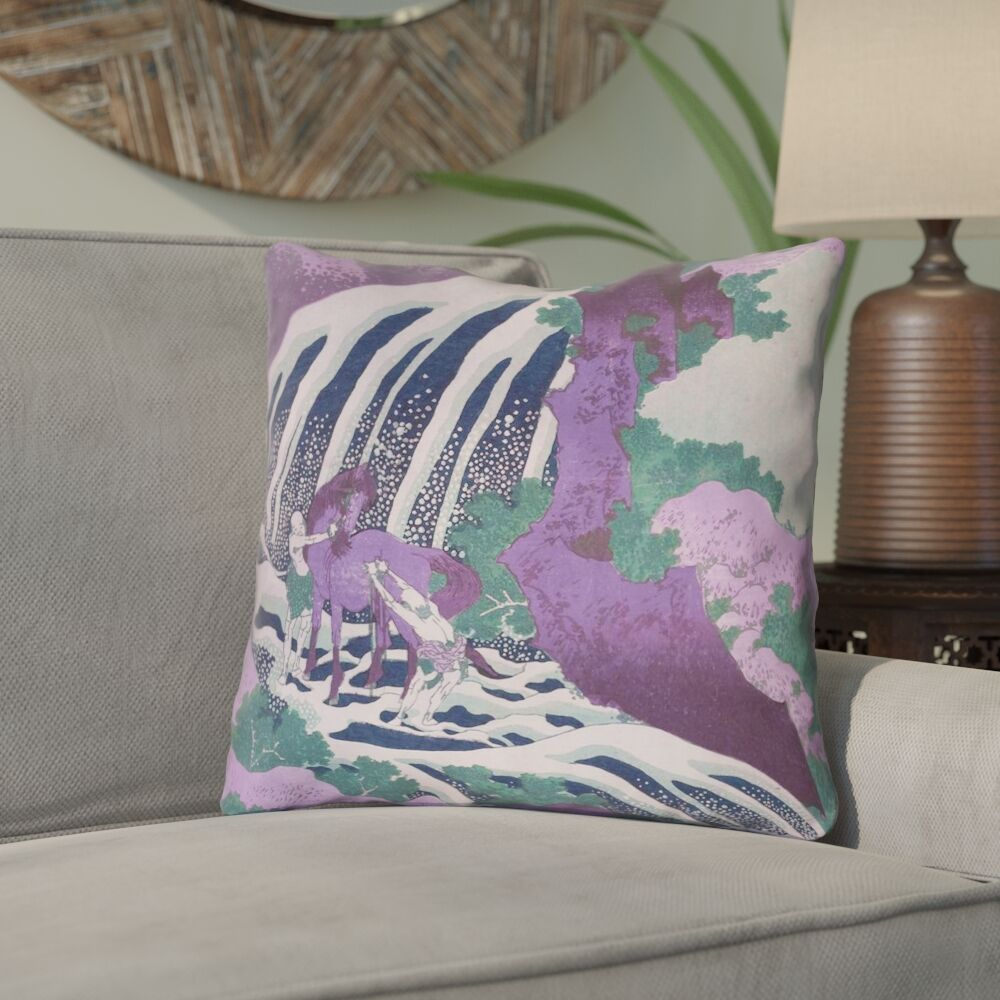 Yasmina Modern Double Sided Horse and Waterfall Throw Pillow Size: 16