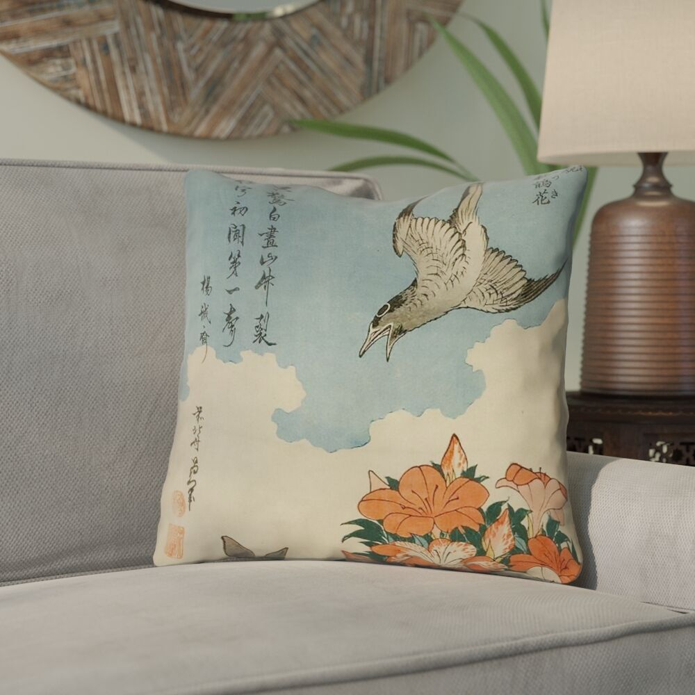 Yasmina Graphic Cuckoo and Azaleas Throw Pillow Size: 18