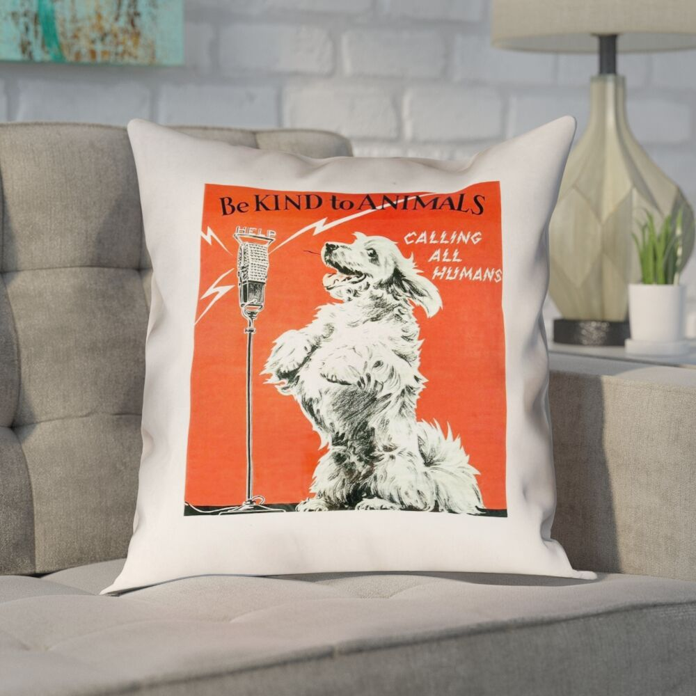 Enciso Vintage Animal Kindness Double Sided Print Pillow Size: 16