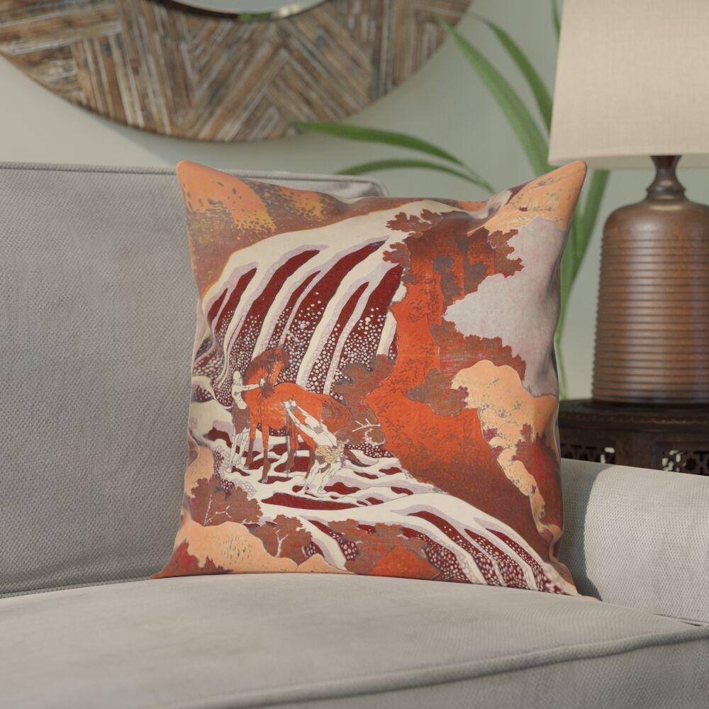 Yasmina Eclectic Double Sided Horse and Waterfall Pillow Cover Size: 26